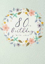 Birthday Age Card 80 Female Halcyon Wreath