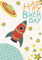 Kids' Birthday Card: Earthworks Happy Rocket