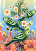 Blank Card: Catalina - Green Birds