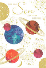 Son Birthday Card Pizazz for Men Planets