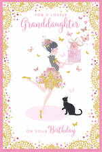 Grandaughter Birthday Card Pizazz Large Floral Skirt