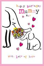 Mum Birthday Card Mummy Doodle Large Elephants