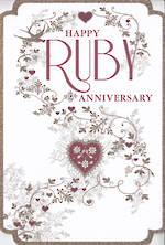 Anniversary Card 40th Ruby: Formal Floral