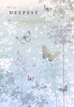 Sympathy Card Faded Blue Butterflies