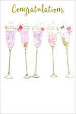Congratulations Card Flute Glasses