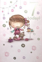 Birthday Age Card 7 Girl Cartoon