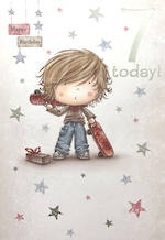 Age Card 7 Boy Birthday Cartoon