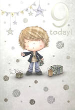 Age Card 9 Boy Birthday Cartoon