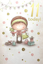 Age Card 11 Girl Birthday Cartoon