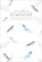 Sympathy Card Silver Foil Feathers