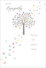 Sympathy Card Large Tree Butterflies