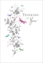 Sympathy Card Thinking of You Butterfly Foil