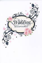 Wedding Acceptance Card Pink Roses