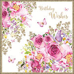 Pizazz Square Birthday Wishes Pink Flower