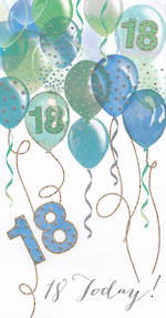 Birthday Age Card 18 Male Pizazz Balloons