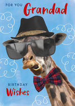 Grandad Birthday Card Wishes Giraffe