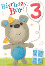 Age Card 3 Boy Marshmallow Bear