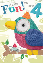Birthday Age Card 4 Boy Marshmallow Parrot