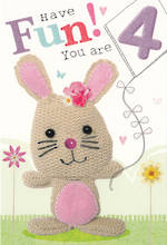 Age Card 4 Girl Marshmallow Bunny