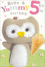 Age Card 5 Girl Marshmallow Owl