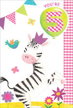 Age Card 5 Girl Birthday Zebra