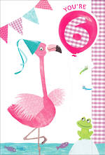 Age Card 6 Girl Birthday Flamingo