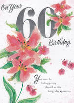 Age Card 60 Female Word or Word Floral