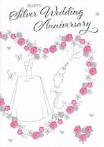 Anniversary Card 25th Silver Word For Word Champagne
