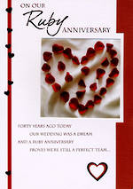 Anniversary Card 40th Ruby Petal Heart