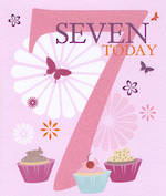 Age Card 7 Girl Candy Burst Cupcakes