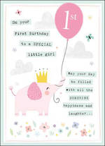First Birthday Age Card 1 Girl Paper Gallery