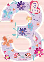 Birthday Age Card 3 Girl Paper Gallery