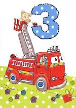 Age Card 3 Boy Fire Engine