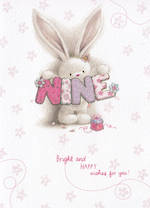 Age Card 9 Girl Bebunni Bright Wishes