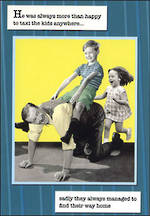 Humorous Birthday Card: Gentlemen's Club Kids Taxi