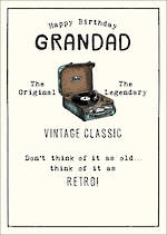 Grandad Birthday Card Etched Retro