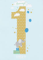 First Birthday Age Card 1 Boy Apollo Elephant