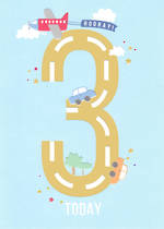 Birthday Age Card 3 Boy Apollo Cars