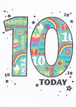 Birthday Age Card 10 Boy Bangers & Flash Today