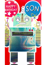 Son Birthday Card: Banoffee Pie Large Robot