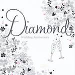 Anniversary Card 60th Diamond: Can Can Floral