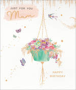 Mum Birthday Card Lemon Sorbet Hanging Basket