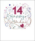 Birthday Age Card 14 Female Mimosa
