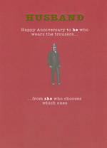 Anniversary Card Husband: Mad As Hops Wears Trousers