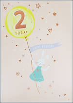 Age Card 2 Girl Birthday Pancake Bunny
