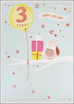 Age Card 3 Girl Birthday Pancake Owl