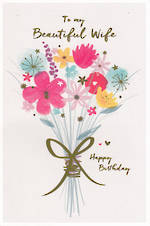Wife Birthday Card Reflections Flowers