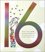 Birthday Age Card 16 Female Tinklers Rainbow Foil