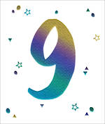 Birthday Age Card 9 Boy Wow Stars