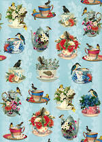 Sheet Wrap New Zealand Teacups & Birds
